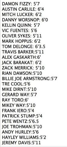 Heights of band members.