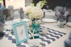 Grey and Aqua Wedding Colors | Gage Blake Photography | Chevron Table Runners | Beach Themed | Wedding | Real Wedding | Centerpieces | Salt Water Taffy Favors