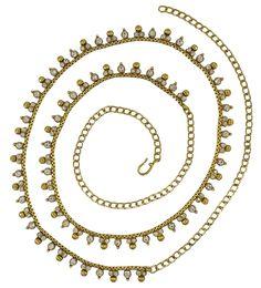 Matra Indian Traditional Goldtone Bridal Wedding CZ Stone Kamar Bandh Waist Jewellery