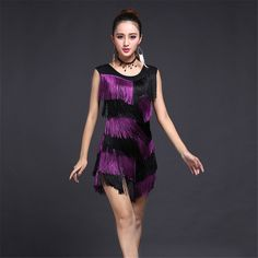 3844371e8479 HOT Sale Latin Tassel Fringe Dress Secondary Color Dacning Costumes for  Women Evening Party Dress Plus
