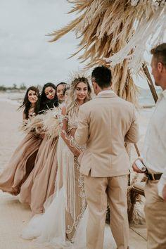 This Beachy Boho Wedding at Sanctuary Ho Tram is Like a Royal Mermaid Affair Hipster Wedding, Boho Beach Wedding, Boho Wedding Dress, Dream Wedding, 1920s Wedding, Wedding Dreams, Mermaid Wedding, Wedding Photography Poses, Wedding Poses