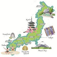 Illustrated Map Design and Cartography - Bek Cruddace Illustration Naoshima Island, Business Cartoons, Japon Tokyo, All About Japan, China Map, Japan Travel Tips, Tourist Map, Cat Character, Retro Advertising