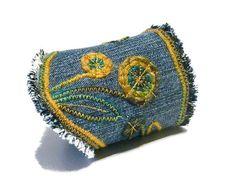 Bohemian Fiber bracelet Jeans cuff Turquoise Mustard Blue hippie denim bracelet