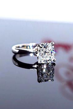 Brilliant Cushion Cut Engagement Rings ❤ See more: http://www.weddingforward.com/cushion-cut-engagement-rings/ #weddings