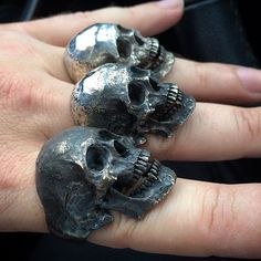 """""""possessed by skulls """" Into The Fire Jewelry skull rings hand carved by Demitri Bakogiorgis #skull #skulls #skullring #skullrings #skullart #skullpainting #skullpendant #skulljewelry #rebel #rock #outlaw #biker #tattoo #musician #jewelry #skulltattoo #gothic #gothicgirl #witch #witches #warlock #harleydavidson #harley #art #tattooartist #intothefirejewelry #demitribakogiorgis #handcarvedquaility #customknives #copyrights"""
