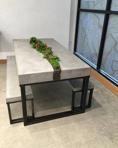 living concrete table set, handcrafted furniture, concrete table, concrete furniture