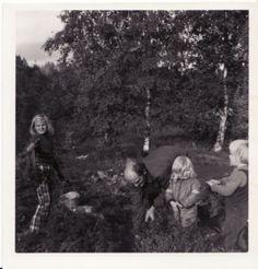 noen plukker bær, gammelt bilde.