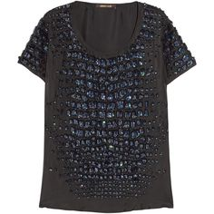 Roberto Cavalli Sequin-embellished silk-twill top ($870) ❤ liked on Polyvore