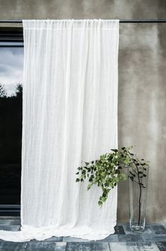 Pure linen curtains 59118 European textured linen drapery Canopy over the bed Linen curtain panel Light and transparent drapes #