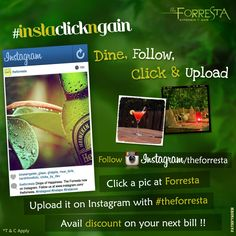 It's time for #instaclickngain !! In your next visit to Forresta, follow us on www.instagram.com/theforresta, click a pic and upload it on Instagram with #theforresta and get a discount  #jaipur