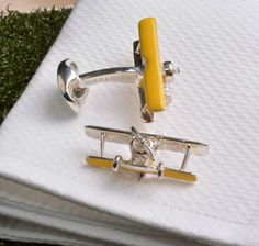 Solid Silver Bi Plane Cuflinks