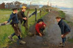 Marbles-Harold Harvey (1874–1941) a Newlyn School painter who largely painted scenes of working class Cornish fishermen, farmers and miners and Cornish landscapes