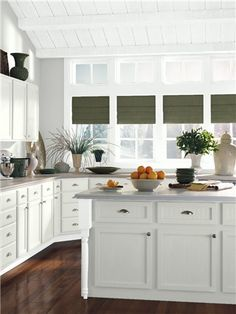Look at the paint color combination I created with Benjamin Moore. Via Benjamin Moore. Wall: Spirit in the Sky Trim: Snow White Ceiling: Chantilly Lace Cabinet: Chantilly Lace 2 Green Cabinets, Grey Kitchen Cabinets, Kitchen Cabinet Colors, Painting Kitchen Cabinets, Kitchen Paint, Kitchen Colors, Kitchen Ideas, Kitchen Redo, Kitchen Cabinets Color Combination
