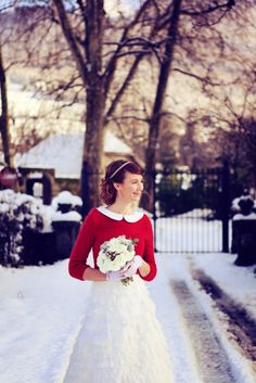 Winter Wedding Dress With Red Cardigan So Cute