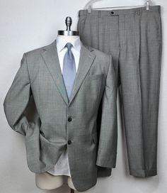70e85e418 Joseph Abboud Loro Piana Wool Black & White Houndstooth Suit 46L Pants  40 x 28