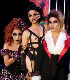 """Bianca Del Rio as Magenta, Courtney Act as Frank-N-Furter and Michelle Visage as Riff Raff for the production of """"The Rocky Horror Show""""."""