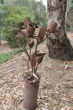old metal turned into sculpture