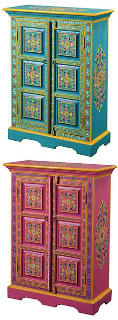 Handpainted indian cupboard.  My oldest  daughter would love this! #paintedfurniturefabric