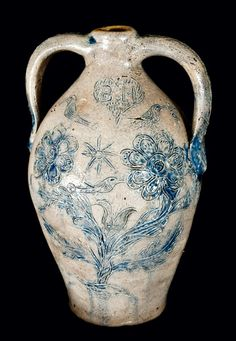 Stoneware Memorial Jug made for a Potter who Drowned (Sold for over one hundred and thirty-eight thousand dollars - The Highest Price Ever Paid at a Stoneware Specialty Auction)