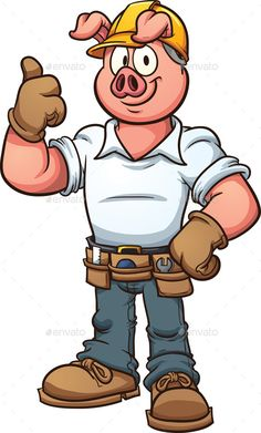 Construction Worker Pig