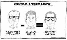 Patrick Larme  (2017-02-14) France: Hamon a les oreilles décollées comme Valls et porte quasi les mêmes lunettes que Hollande. Hamon Valls 2017 Hollande Primaire deGauche