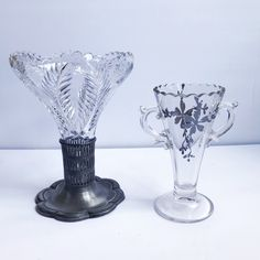 Excited to share this item from my #etsy shop: ANTIQUE | set of 2 glass celery vases #cutglass #glassdecor #celeryvase #floral #silveroverlay #filigree #vintagevase #antiquevase #demarsvintage