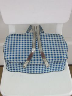 this would be great for carrying cookies to work - blue gingham metal basket Vintage Picnic Basket, Vintage Lunch Boxes, Vintage Tins, Vintage Love, Vintage Metal, Picnic Baskets, Love Blue, Blue And White, Tartan