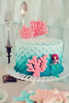 Little Mermaid birthday cake got to do one year for reagan bday
