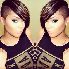 New Short Black Hairstyles 2016 Shaved Side Hairstyles, Dope Hairstyles, Black Women Hairstyles, Hairstyle Short, Hairstyle Ideas, Hairstyles 2016, Short Hair Cuts, Short Hair Styles, Shaved Hair Designs