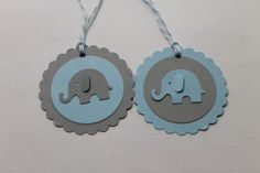 10pc Cute Baby Blue and Grey Elephant Tags for by ThePaperOwl13, $5.00