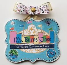 Mickey's World Teacher Sign Teacher Signs, Teacher Name, Disney Classroom, Classroom Themes, Classy Christmas, Disney Christmas, Teacher Canvas, Diy Vinyl Projects, Mouse Silhouette
