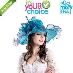 feead963bbf35 Kentucky Derby Hats Blue Church Hats Ladies Wedding Organza women hot  Ladies  fashion  clothing