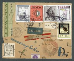 Nick Bantock's 'Irony Tax' Collages, Surreal Collage, Collage Art, Collage Vintage, Vintage Prints, Mail Call, Postage Stamp Art, Envelope Art, Postcard Art