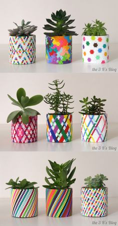 Woven Planter Update is part of Diy perler beads - Hola Everyone! A couple of months ago I posted a Woven Bead Planter that I had made using plastic fuse beads What you might not know is that after I made that first planter and posted it here, I … Diy Perler Beads, Perler Bead Art, Pearler Beads, Tin Can Crafts, Diy And Crafts, Craft Projects, Crafts For Kids, Rock Crafts, Homemade Crafts