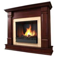 Real Flame Silverton 48 in. Gel Fuel Fireplace in Dark Mahogany-G8600-DM - The Home Depot