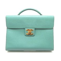 Authentic Chanel Emerald Green Caviar Briefcase Laptop Case (1,220,240 INR) ❤ liked on Polyvore featuring bags, chanel, purses, borse and accessories