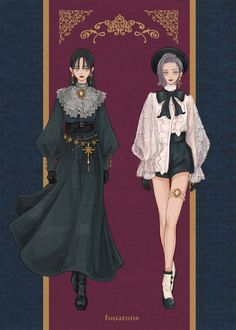 fouatons/通販オープン中 on in 2020 Vintage Fashion Sketches, Fashion Design Drawings, Character Outfits, Character Art, Fashion Drawing Dresses, Anime Dress, Drawing Clothes, Anime Outfits, Character Design Inspiration