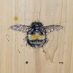 "Bee#4 Pyrography and natural pigments on poplar (indigo, pollen, zinc) ~ 9"" x 9"""