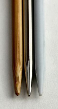 Comparison of Knitting Needle Tips, Size US7 From left to right: Clover Takumi Bamboo, Knit Picks Options, Denise Interchangeable