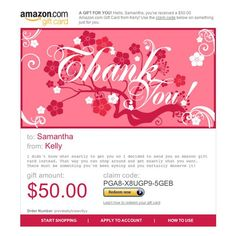 Amazon Gift Card - E-mail - Thank You Flowers $50.00