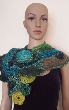 OOAK Freeform crochet knit multicolor scarf by crochetismylove on Etsy