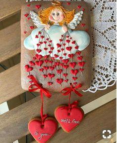 angel with heart Fondant Cookies, Sugar Cookie Frosting, Royal Icing Cookies, Cupcake Cookies, Angel Cookies, Iced Cookies, Biscuit Cookies, Valentines Day Cookies, Valentine Cookies