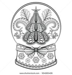 Decorative Snow Globe with Christmas tree and mistletoe. Vector illustration in zentangle style. Sketch for adult anti stress coloring pages, tattoo, New Year posters, greeting cards, t-shirt design