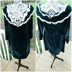 Check out this item in my Etsy shop https://www.etsy.com/listing/256727621/vintage-green-velvet-lace-dress-scott
