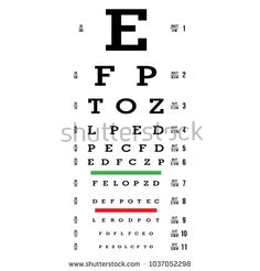 Eye Test Chart Vector. Letters Chart. Vision Exam. Optometrist Check. Medical Eye Diagnostic. Sight, Eyesight. Optical Examination. Isolated On white Illustration