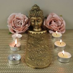 Gold beautifully detailed Incense holder with 5 slots. Buddha Head, Incense Holder, Candle Sconces, Wall Lights, Candles, Statue, Gold, Beauty, Decor