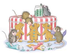 """Mudpie, Amanda, Muzzy and Monica, from House-Mouse Designs®, featured on the The Daily Squeek® for February 9th, 2014. Click on the image to see it on a bunch of really """"Mice"""" products."""