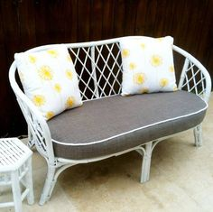White cane love seat