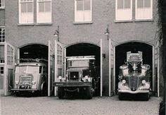 Groningen Provence, City of Groningen: Zuiderdiep fire station in 1958 Fire Dept, Fire Department, Fire Trucks, Netherlands, Holland, Old Things, City, Places, Firemen