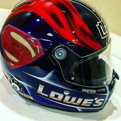 Jimmie Johnson's Superman themed racing helmet